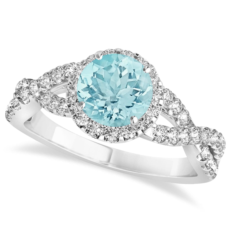 Aquamarine & Diamond Twisted Engagement Ring 14k White Gold 1.25ct