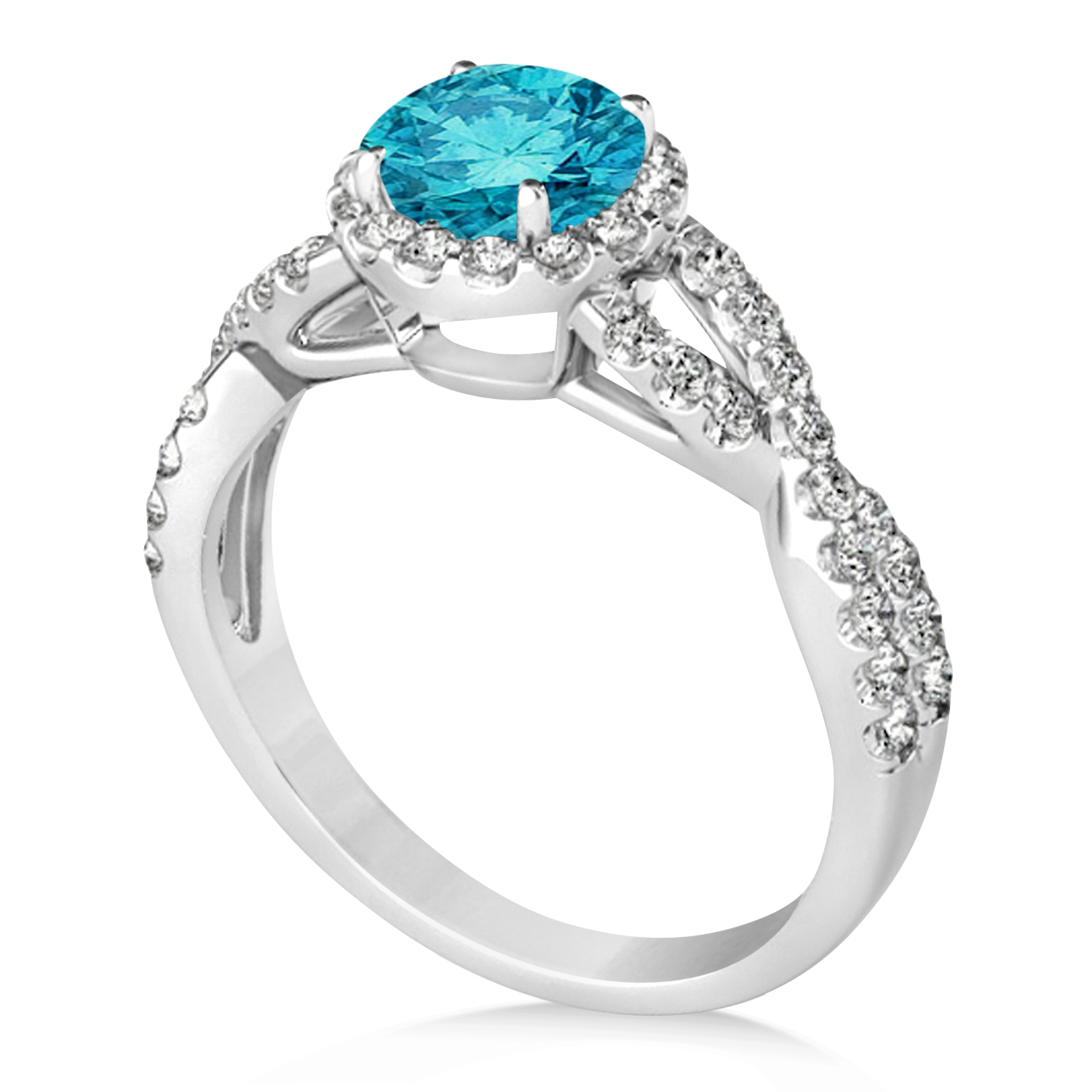 Blue Diamond & Diamond Twisted Engagement Ring 14k White Gold 1.30ct