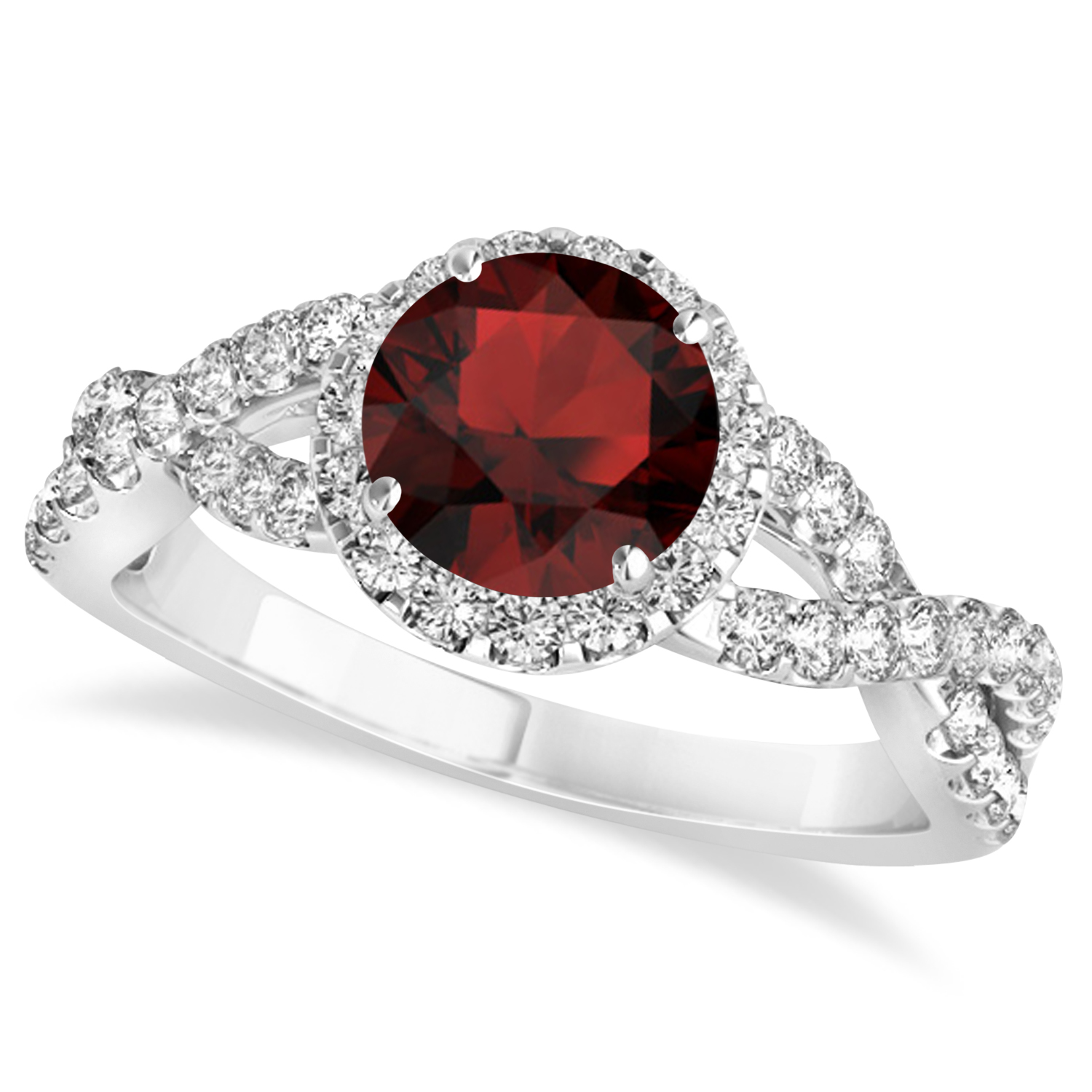 Garnet & Diamond Twisted Engagement Ring 14k White Gold 1.50ct