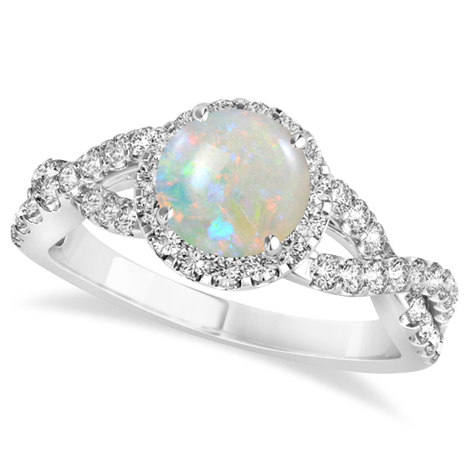 Opal & Diamond Twisted Engagement Ring 14k White Gold 1