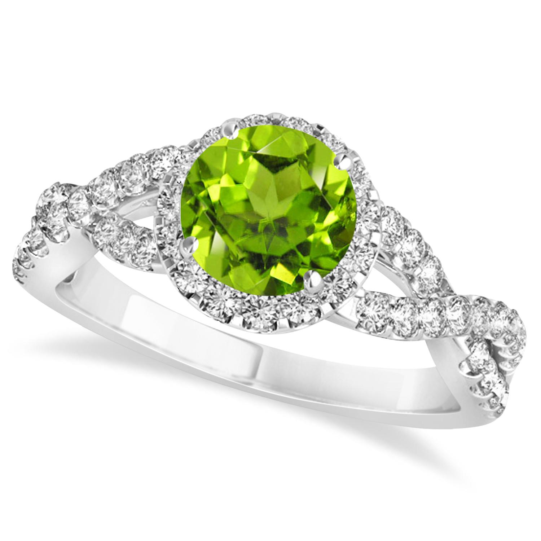 Peridot & Diamond Twisted Engagement Ring 14k White Gold 1.35ct