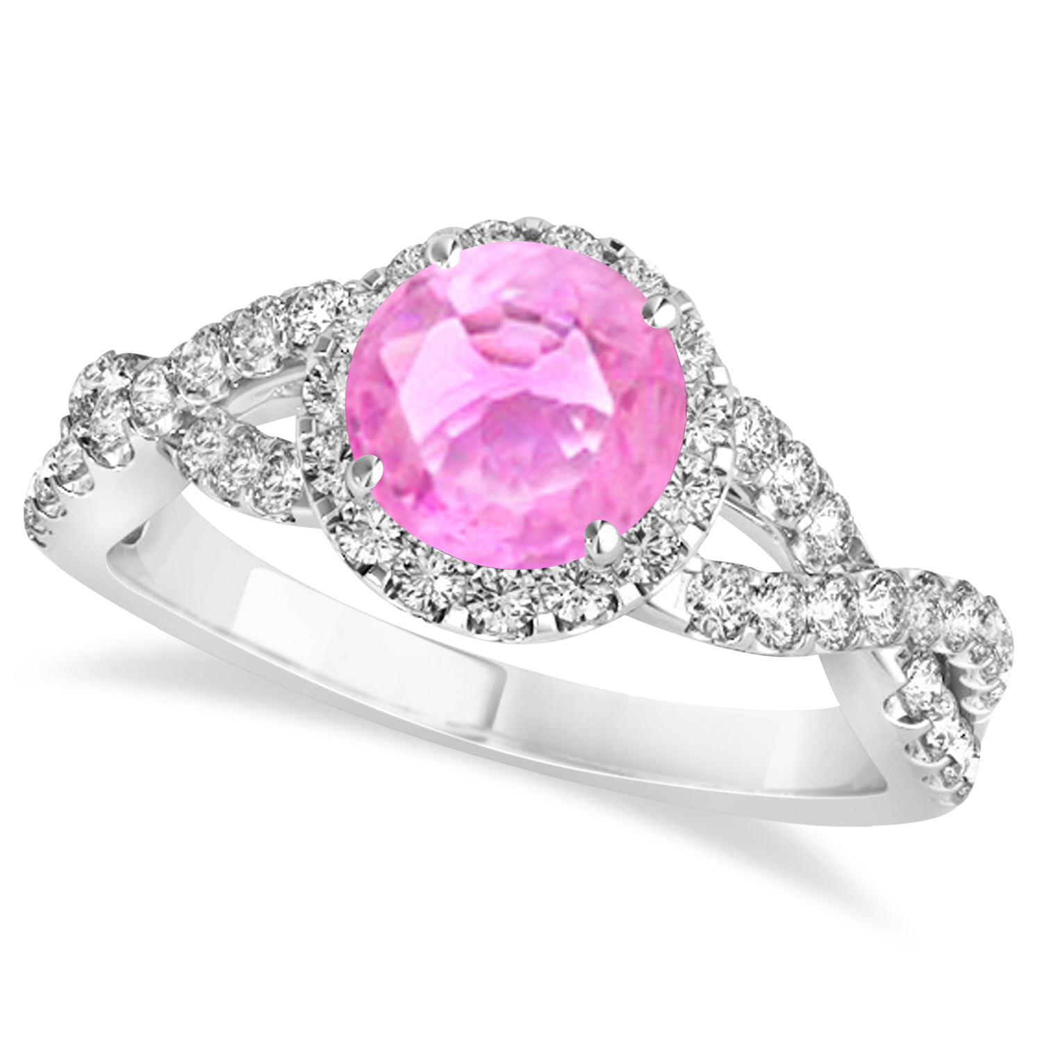 Pink Sapphire & Diamond Twisted Engagement Ring 14k White