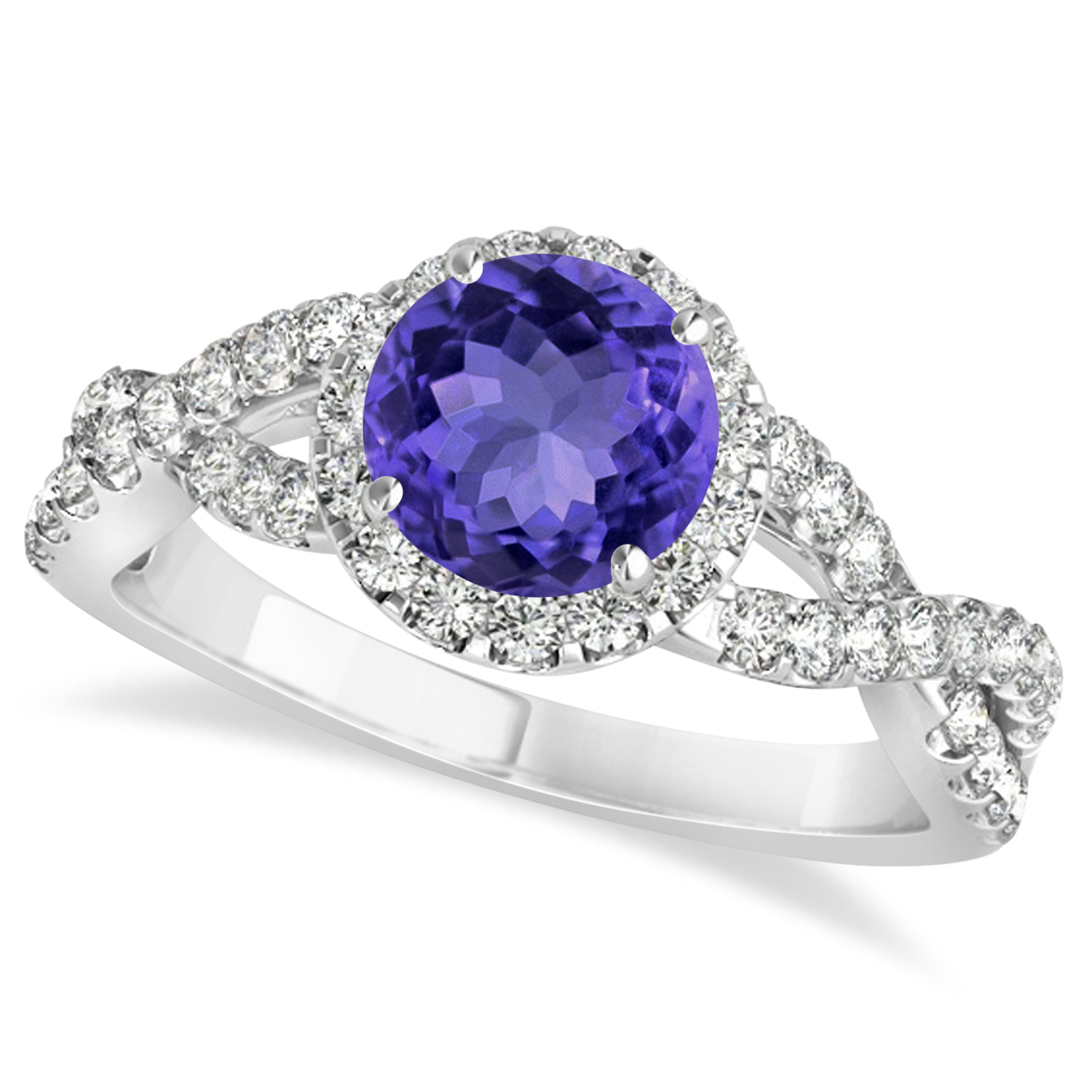 tanzanite diamond twisted engagement ring 14k white gold. Black Bedroom Furniture Sets. Home Design Ideas