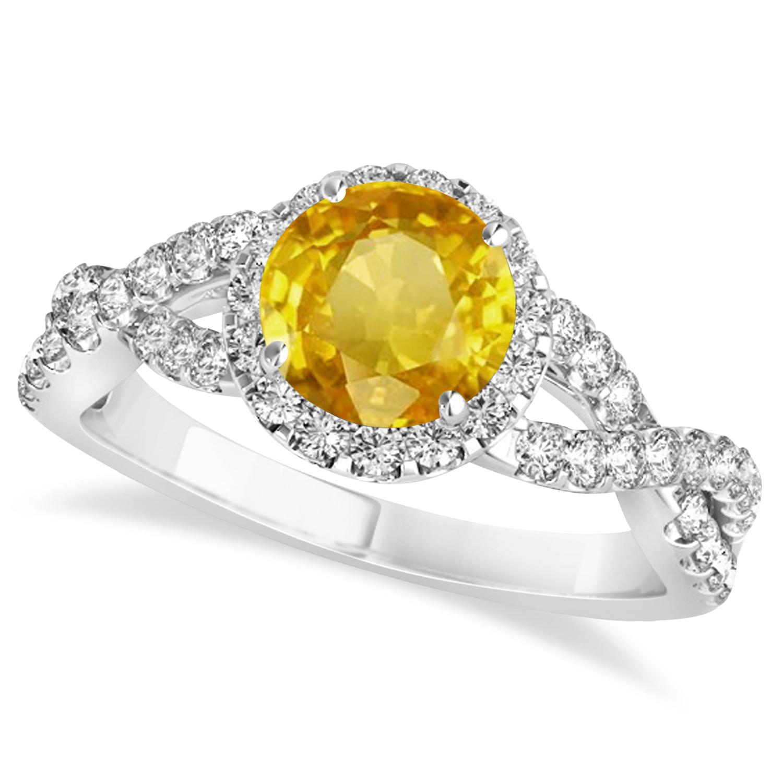 Yellow Sapphire & Diamond Twisted Engagement Ring 14k White Gold 1.55ct