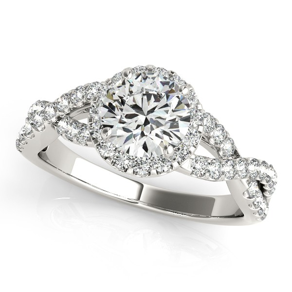 Moissanite Infinity Twisted Halo Engagement Ring 14k White Gold 2.00ct