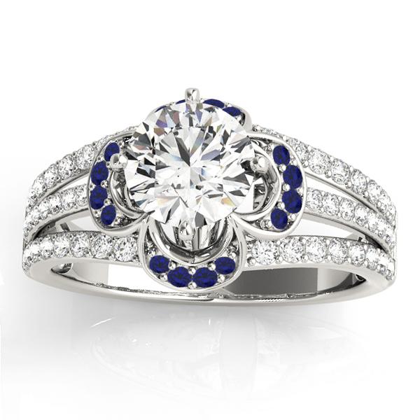 Diamond & Sapphire Clover Engagement Ring 14k White Gold (0.58ct)