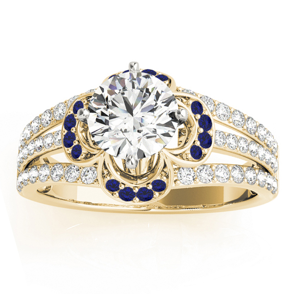 Diamond & Blue Sapphire Clover Engagement Ring 14k Yellow Gold (0.58ct)