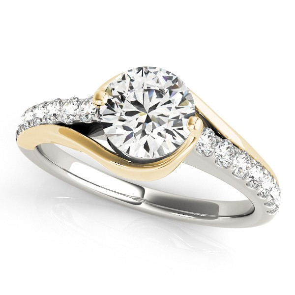 solitaire engagement ring diamond accented 14k two tone gold 100ct - Two Tone Wedding Rings
