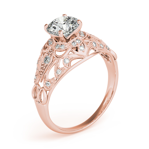 Vintage Art Deco Diamond Engagement Ring Setting 14k Pink Gold 0.20ct