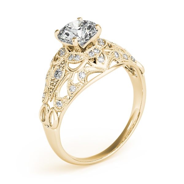 Vintage Art Deco Diamond Engagement Ring Setting 14k Yellow Gold .19ct