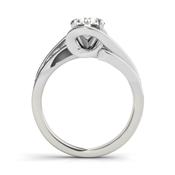 Diamond Bypass Engagement Ring Twisted Setting 14k White Gold (0.20ct)