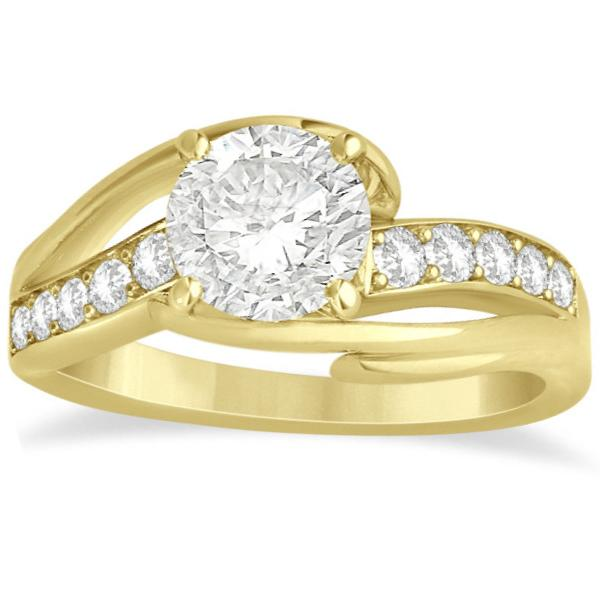 Diamond Bypass Engagement Ring Twisted Setting 14k Yellow Gold 0.20ct
