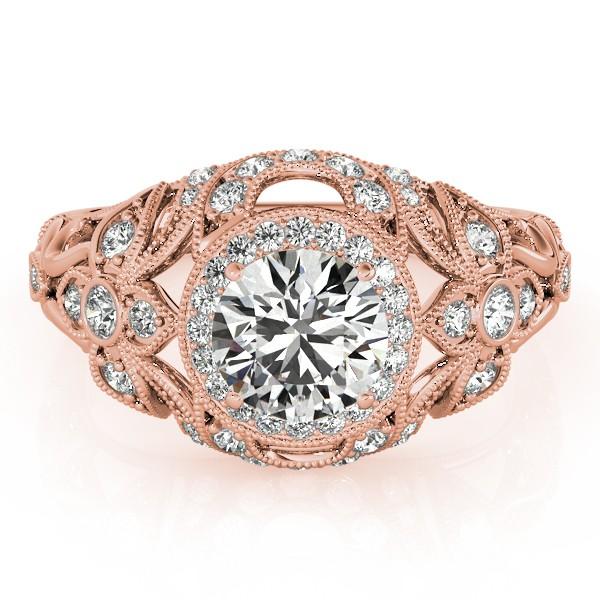 Edwardian Diamond Halo Engagement Ring Floral 14k Rose Gold 1.20ct