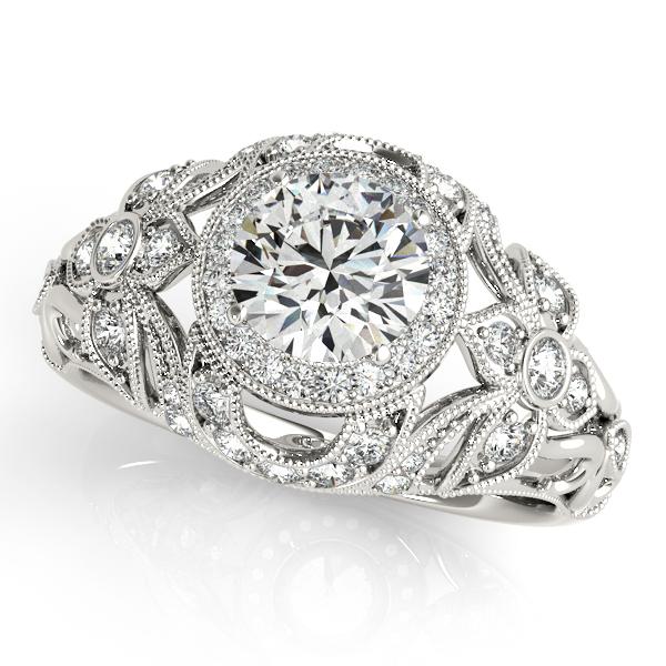 Edwardian Diamond Halo Engagement Ring Floral 14k White Gold 2.00ct