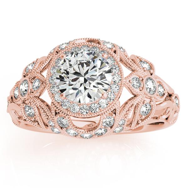 Edwardian Diamond Halo Engagement Ring Floral 18k Rose Gold (0.38ct)