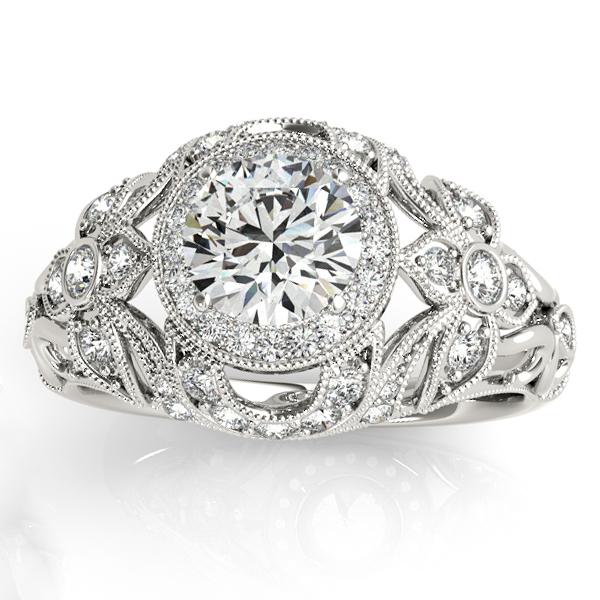 Edwardian Diamond Halo Engagement Ring Floral 18k White Gold (0.38ct)