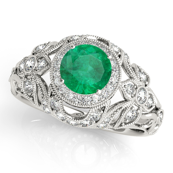 Edwardian Emerald & Diamond Halo Engagement Ring 14k W Gold (1.18ct)