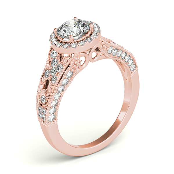 Art Deco & Milgrain Diamond Halo Engagement Ring 14k Rose Gold 1.18ct