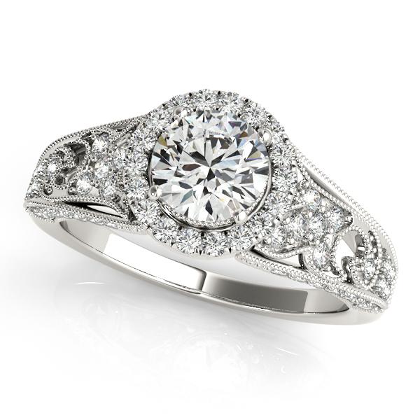 Art Deco & Milgrain Diamond Halo Engagement Ring 14k White Gold 1.18ct