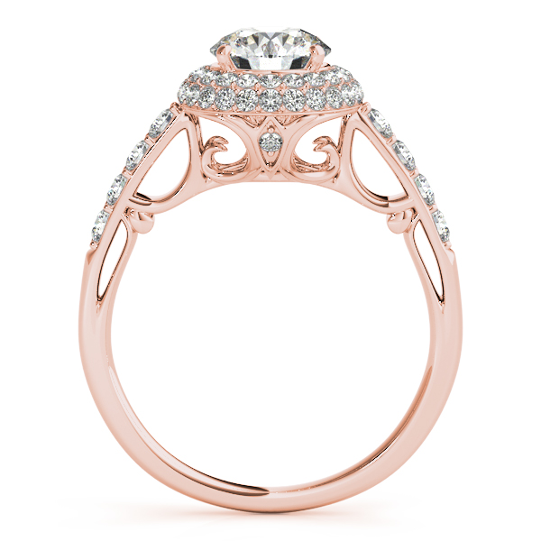 Cathedral Double Halo Diamond Engagement Ring 14k Rose Gold 1 50ct