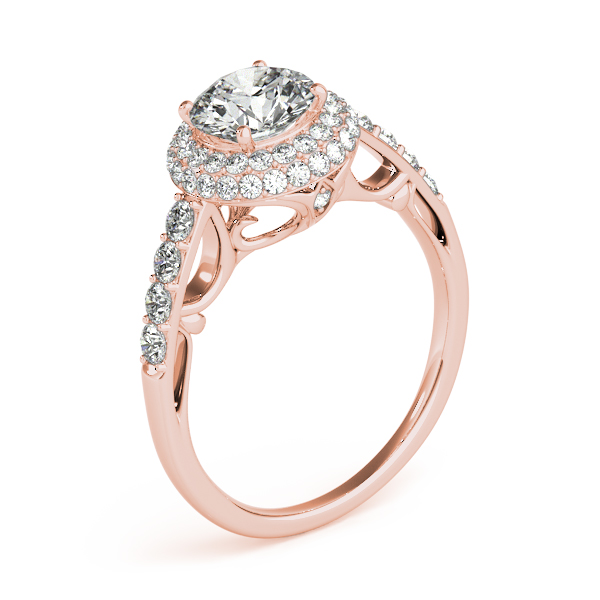 Cathedral Double Halo Diamond Engagement Ring 14k Rose Gold (1.50ct)