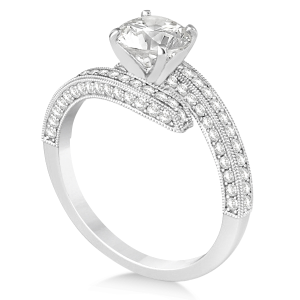 Diamond Bypass & Milgrain Engagement Ring Setting 14k W. Gold 0.50ct