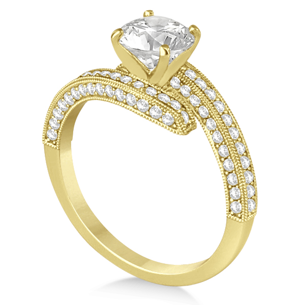 Diamond Bypass & Milgrain Engagement Ring Setting 14k Y. Gold 0.50ct