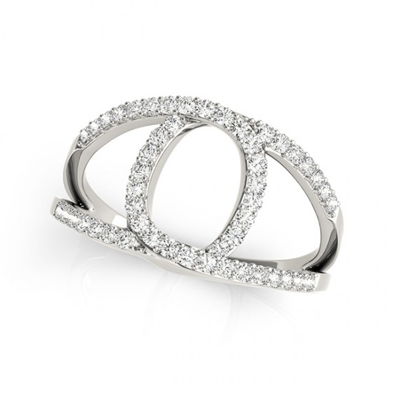 Diamond Abstract Ring Split Shank Circle Band in 14k White Gold 0.50ct