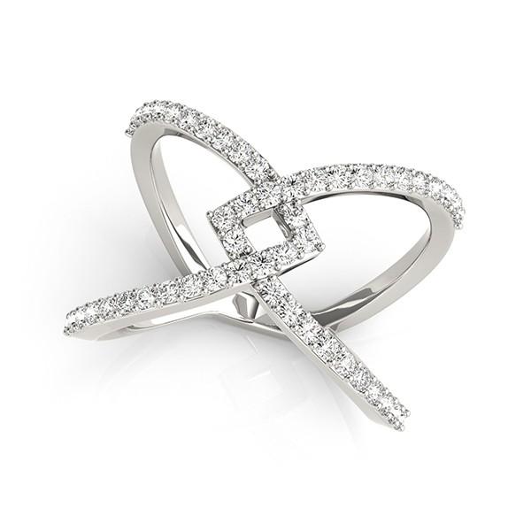 Twisted X Shaped Diamond Ring Band 14k White Gold 0.50ct