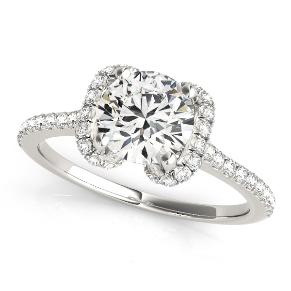 Bow-Inspired Halo Diamond Engagement Ring Platinum (1.33ct)