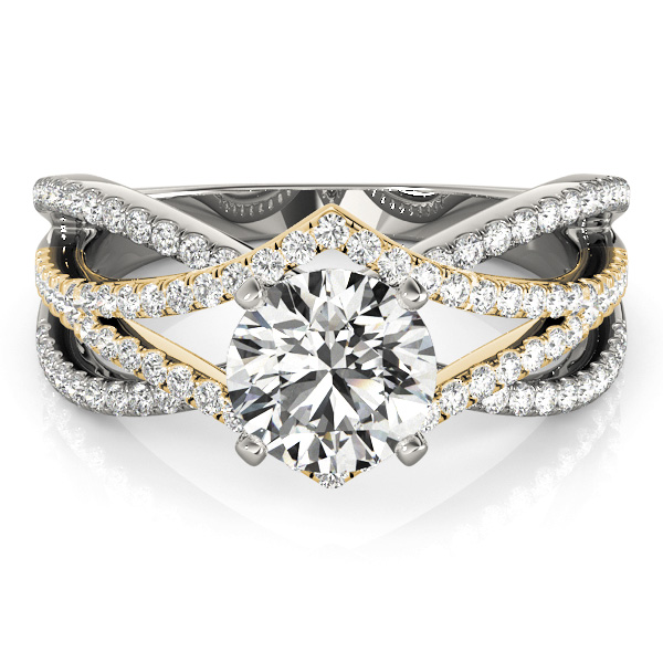 Mulit-Row Designer Diamond Engagement Ring 14k Two Tone Gold (1.00ct)