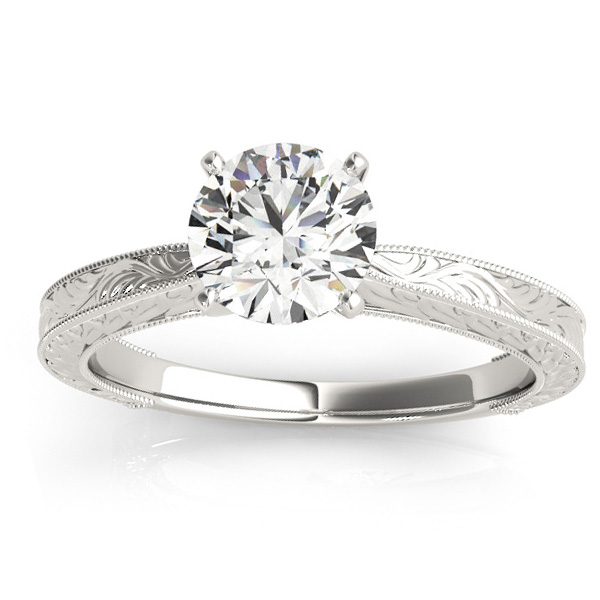 Floral Solitaire Engagement Ring 18k White Gold