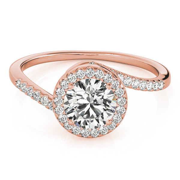 Brilliant Round Bypass Diamond Engagement Ring 18k Rose Gold (0.70ct)