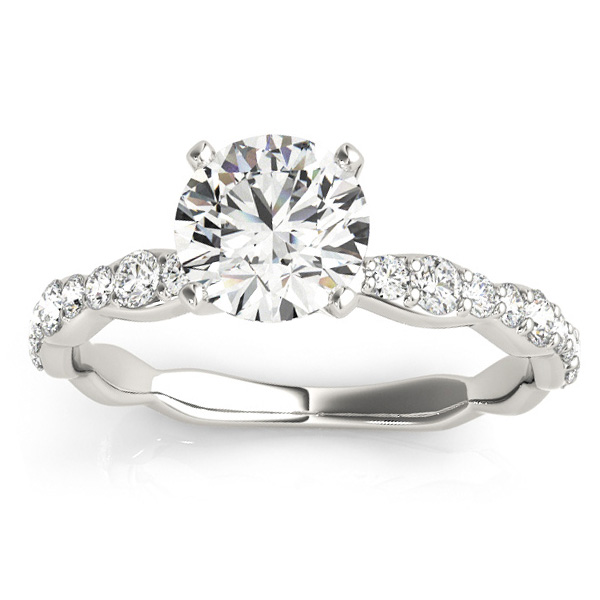 Diamond Accented Engagement Ring Setting in 18k White Gold (0.33ct)