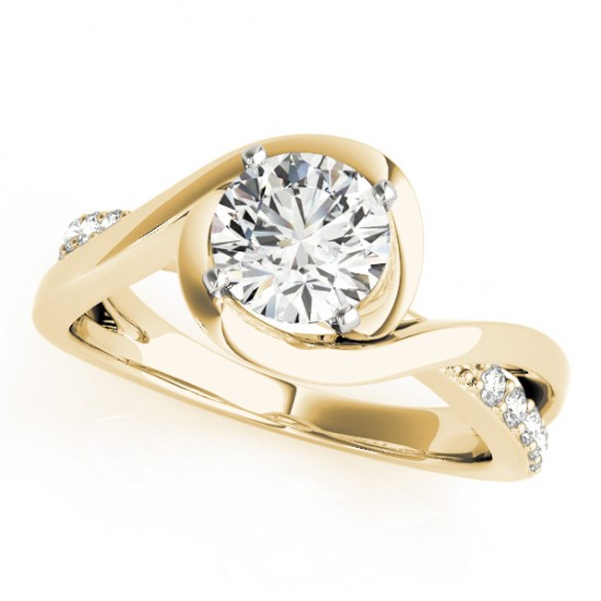 Solitaire Bypass Diamond Engagement Ring 14k Yellow Gold (3.13ct)
