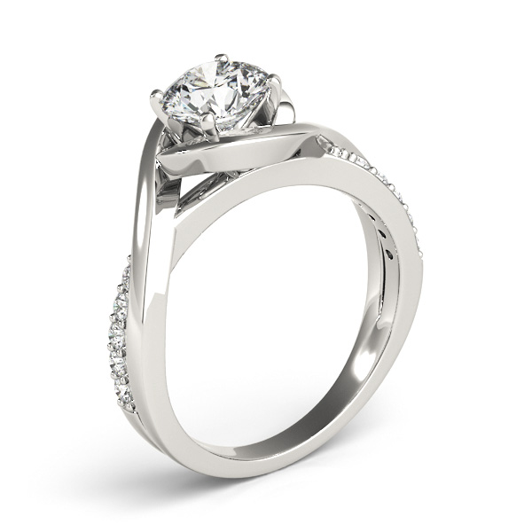 Diamond Bypass Engagement Ring Setting in Platinum (0.13ct)