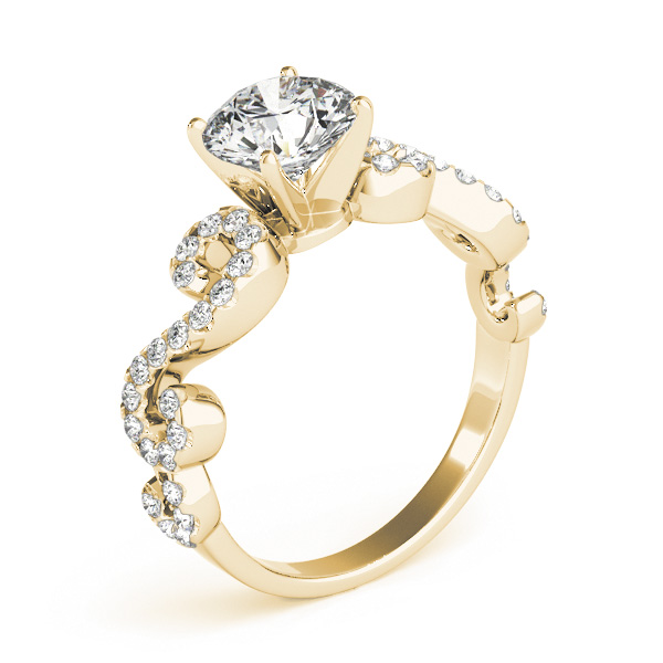 Round Designer Swirl Diamond Engagement Ring 14k Yellow Gold (1.83ct)