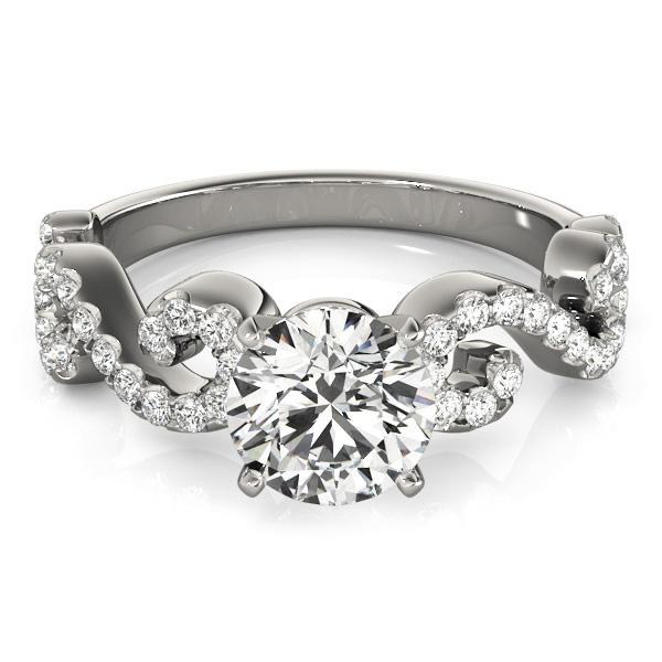 Round Designer Swirl Diamond Engagement Ring Palladium (1.83ct)