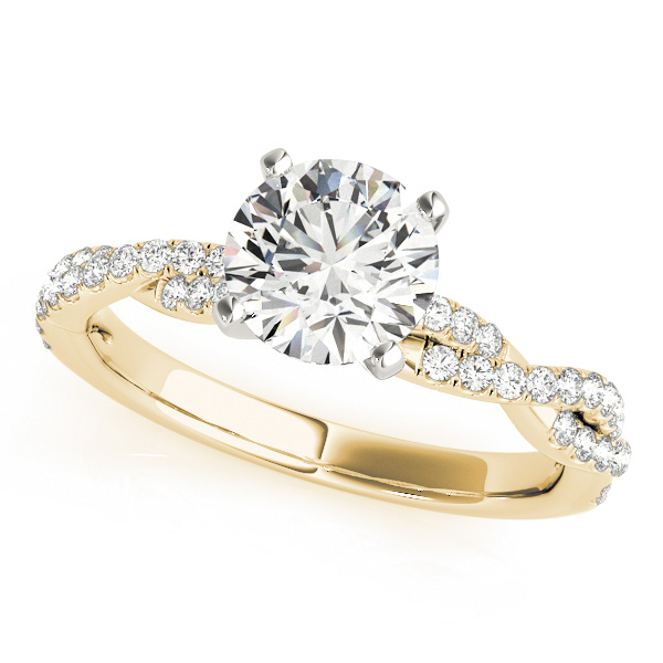 Diamond Twist Sidestone Accented Engagement Ring 14k Yellow Gold (1.69ct)