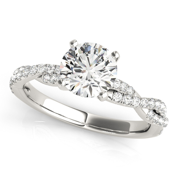 Diamond Twist Sidestone Accented Engagement Ring 18k White Gold (1.69ct)