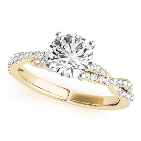 Diamond Twist Sidestone Accented Engagement Ring 18k Yellow Gold (1.69ct)