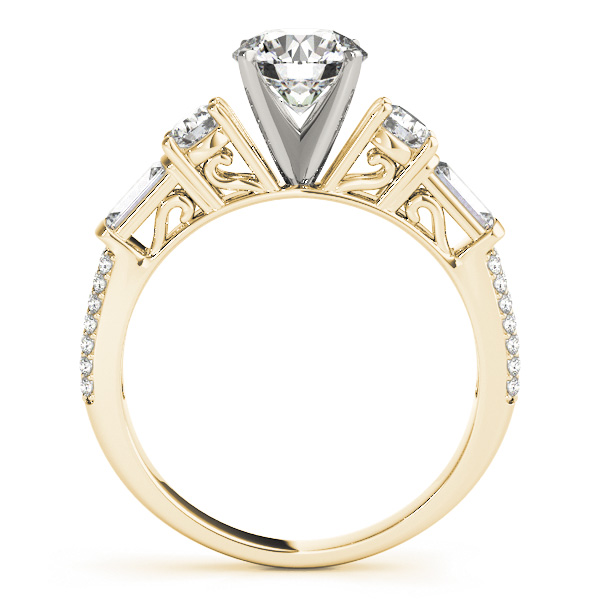 Round & Baguette Diamond Engagement Ring 18k Yellow Gold (1.88ct)