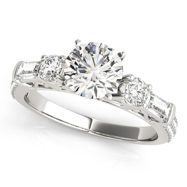 Round & Baguette Diamond Engagement Ring Palladium (1.88ct)