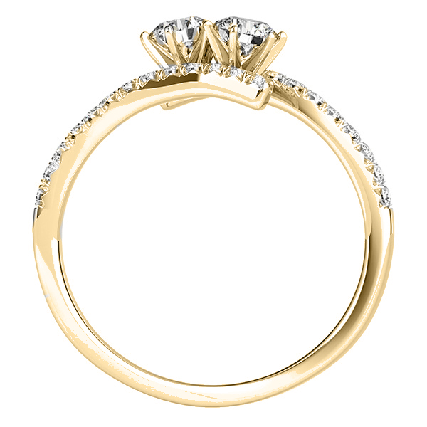 Diamond Tension Style Shank Two Stone Ring 14k Yellow Gold (0.75ct)