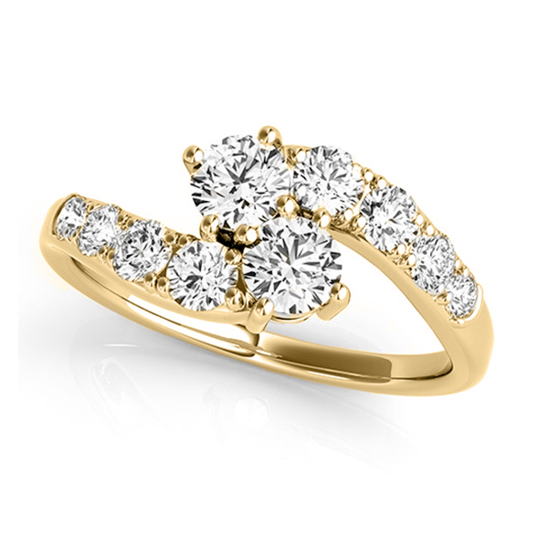 Diamond Accented Contoured Two Stone Ring 14k Yellow Gold (1.25ct)