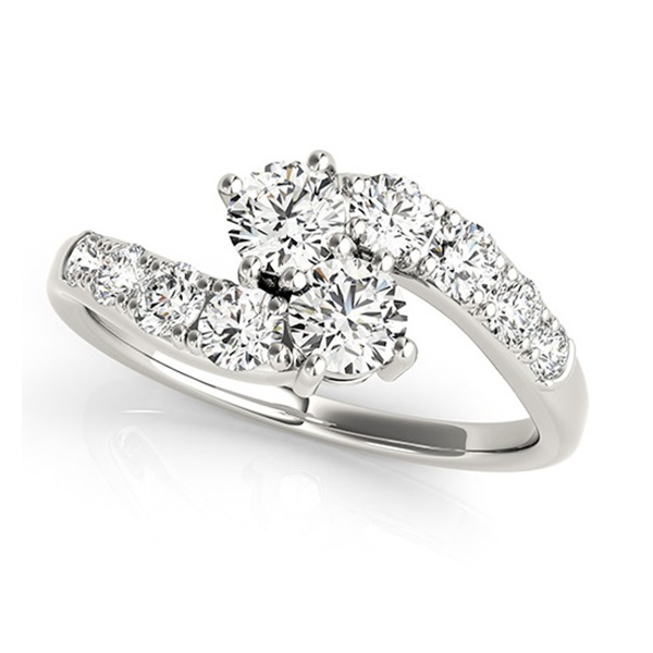 Diamond Accented Contoured Two Stone Ring 18k White Gold (1.25ct)