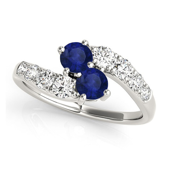 Blue Sapphire & Diamond Contoured Two Stone Ring 18k White Gold (2.00ct)
