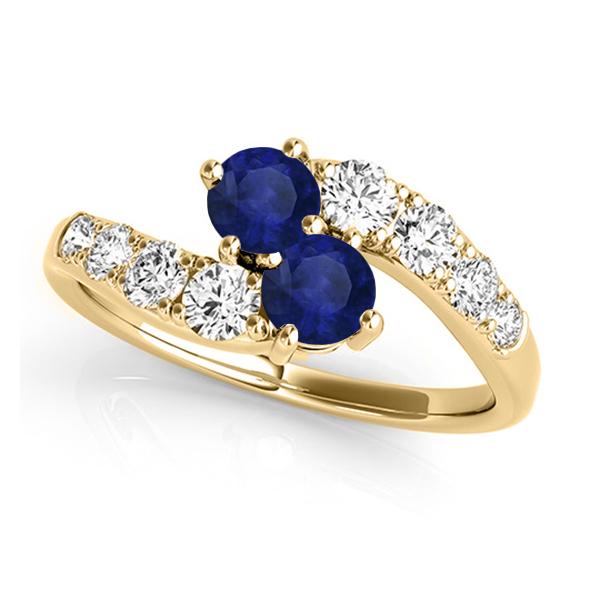 Blue Sapphire & Diamond Contoured Two Stone Ring 18k Yellow Gold (2.00ct)