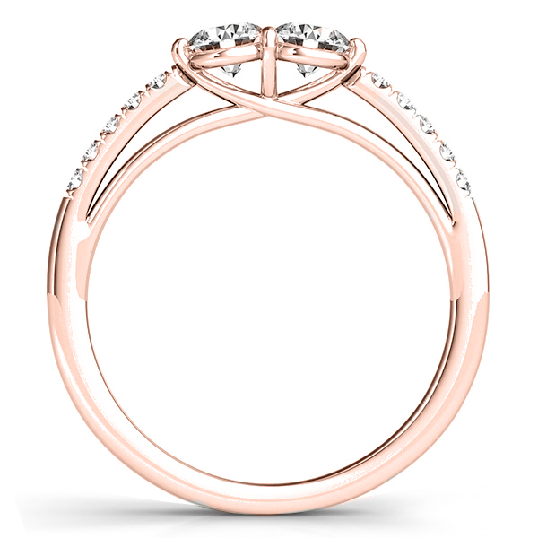 Diamond Accented Cathedral Two Stone Ring 14k Rose Gold (0.38ct)