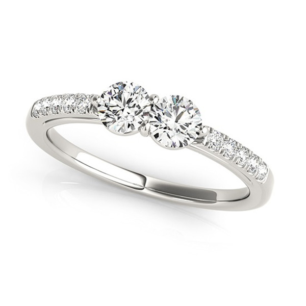 Diamond Accented Cathedral Two Stone Ring 14k White Gold (0.38ct)